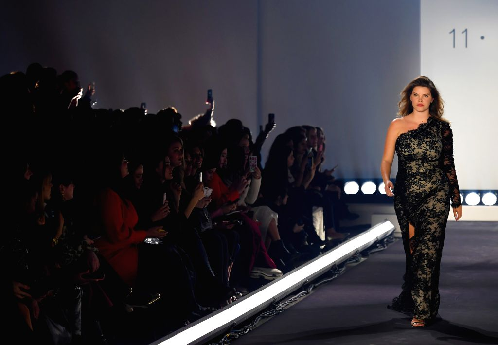 NEW YORK, Feb. 7, 2019 - A model presents a creation of 11 Honore during the New York Fashion Week 2019 in New York, the United States, Feb. 6, 2019. New York Fashion Week 2019 kicked off here on ...