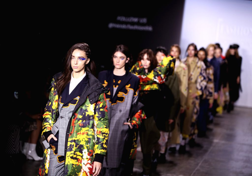NEW YORK, Feb. 8, 2019 - Models present creations during the Fashion Hong Kong show in New York, the United States, on Feb. 8, 2019. The show included creations of three brands ANVEGLOSA, HEAVEN ...