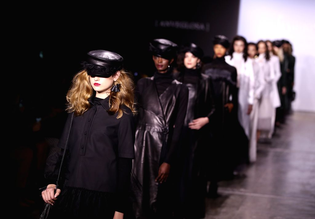 NEW YORK, Feb. 8, 2019 - Models present creations of ANVEGLOSA during the Fashion Hong Kong show in New York, the United States, on Feb. 8, 2019. The show included creations of three brands ...