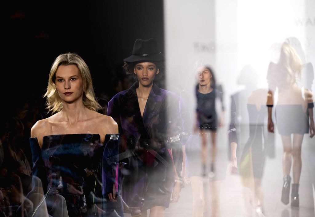 NEW YORK, Feb. 9, 2019 - The multi-exposure photo taken on Feb. 9, 2019 shows models presenting creations of the Taoray Wang Fall/Winter 2019 collection during the New York Fashion Week in New York, ...