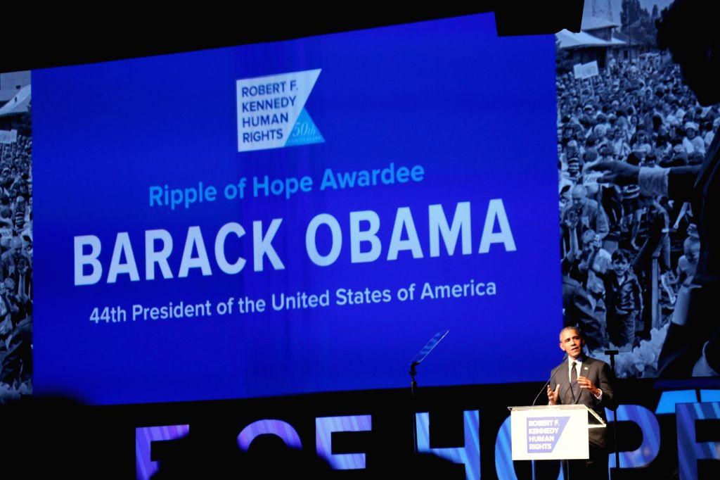 New York: Former US President Barack Obama addresses at Robert F. Kennedy Human Rights' Ripple of Hope Awards in Manhattan, New York, on Dec 12, 2018.