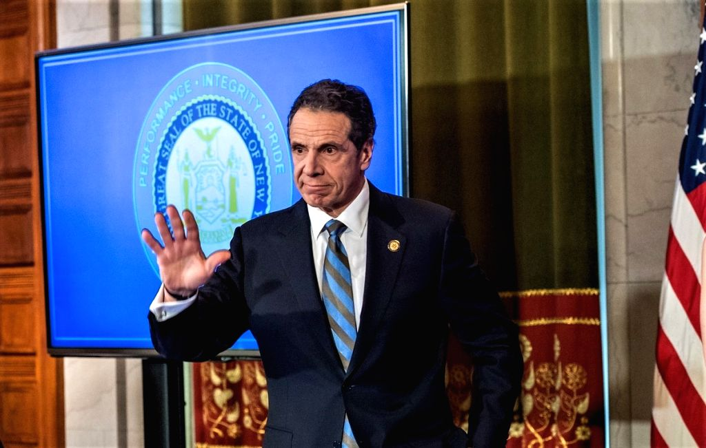 New York Governor Andrew Cuomo at his news conference on Wednesday, April 16, 2020, in state capital, Albany, where he announced he was extending the coronavirus restrictions till May 15. (Photo: NY Governor's Office/IANS).
