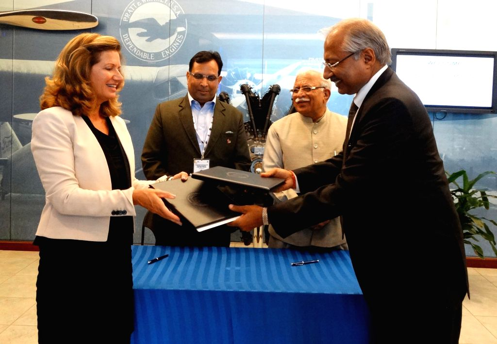 New York: Haryana Chief Minister Manohar Lal Khattar and the Industries and Commerce Minister, Capt. Abhimanyu during a MoU exchange programme for facilitating an additional plant of Carrier ...
