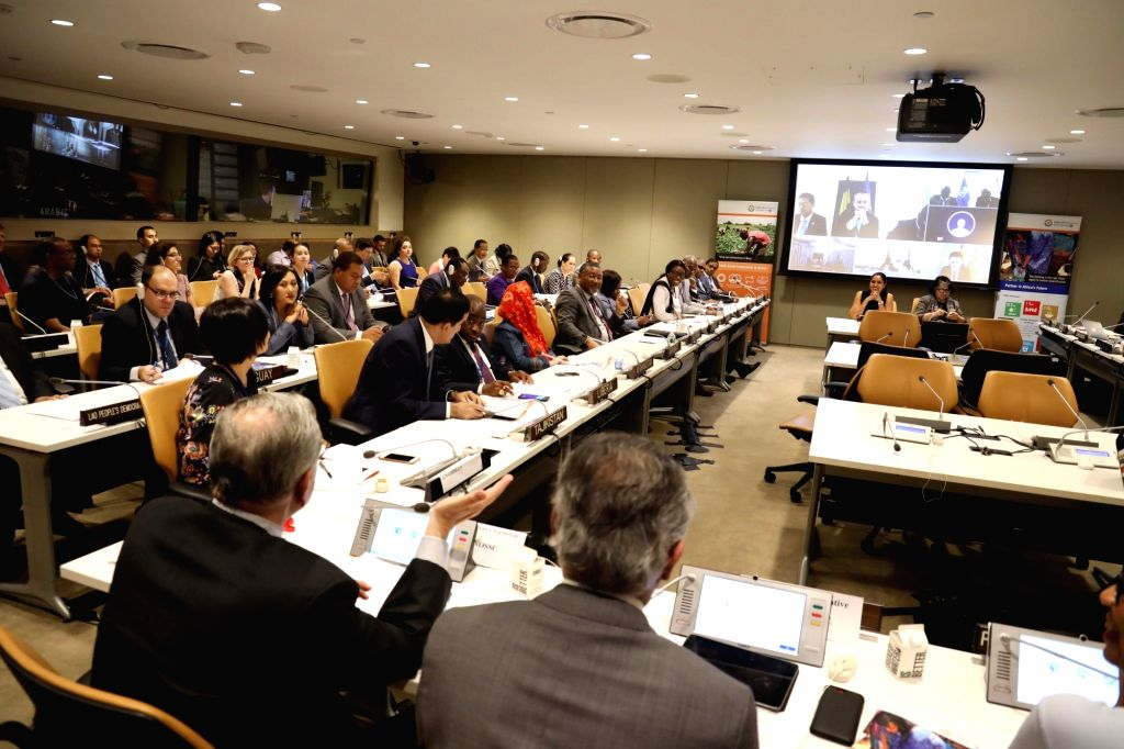 New York: India's Ambassador to the United Nations Syed Akbaruddin addresses during an event organised by the Permanent Mission of India to the UN together with the UN Office for South-South Cooperation to commemorate the 2nd Anniversary of the India