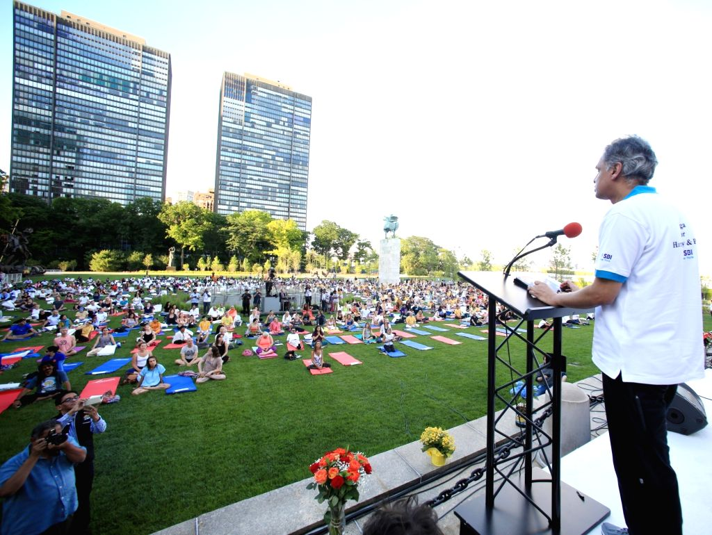 New York: India's Permanent Representative to the UN Syed Akbaruddin addresses on International Yoga Day in New York on June 21, 2017. (