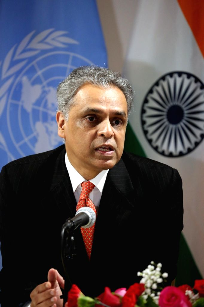 New York: India's Permanent Representative to the UN Syed Akbaruddin addresses during 72nd Session of the United Nations General Assembly (UNGA) in New York on Sept 17, 2017.