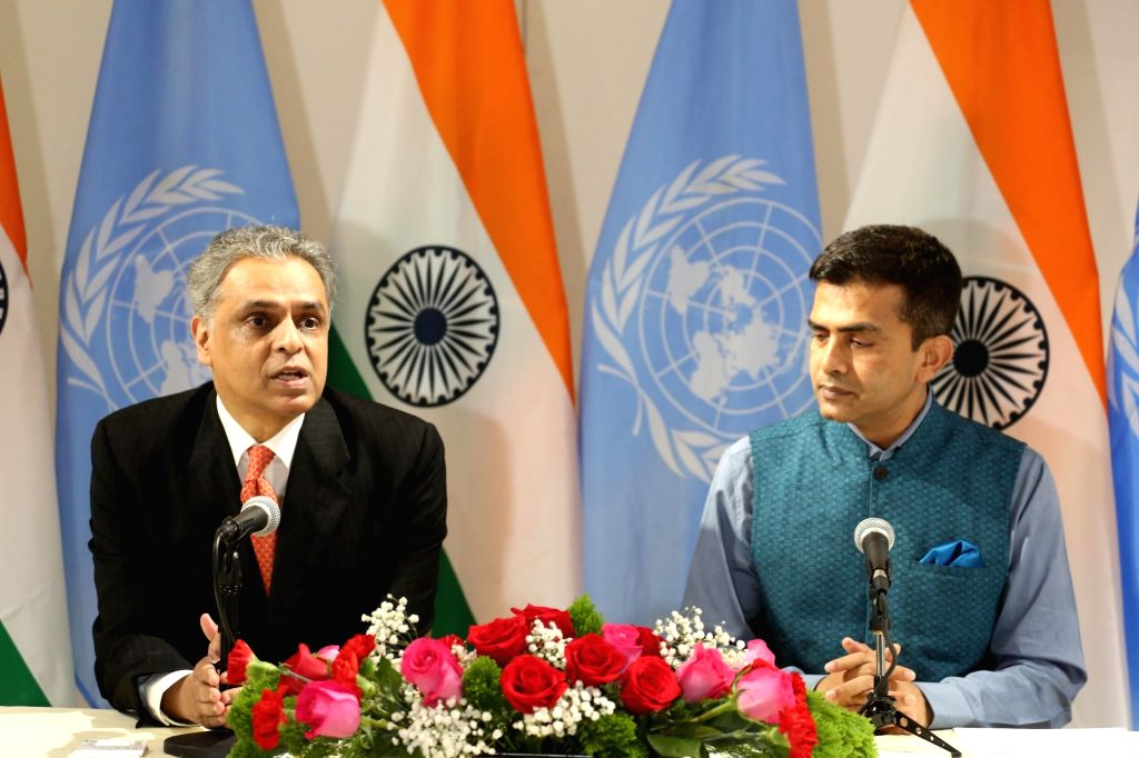 New York: India's Permanent Representative to the UN Syed Akbaruddin addresses during 72nd Session of the United Nations General Assembly (UNGA) in New York on Sept 17, 2017. Also seen Official ... - Affairs Raveesh Kumar