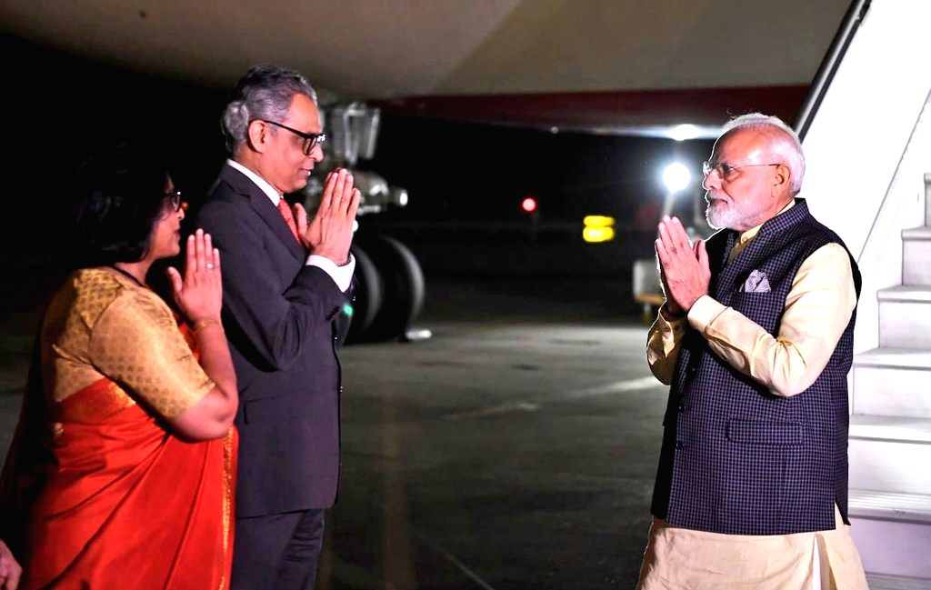 New York: India's Permanent Representative to the UN, Syed Akbaruddin receives Prime Minister Narendra Modi on his arrival in New York, USA on Sep 22, 2019. (Photo: IANS/MEA) - Narendra Modi