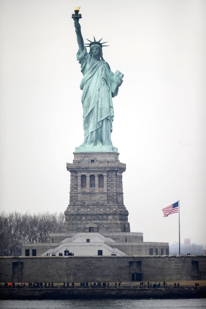 NEW YORK, Jan. 22, 2018 - Photo taken on Jan. 22, 2018 shows the Statue of Liberty on Liberty Island in New York, the United States. New York City's iconic landmark the Statue of Liberty reopened ...