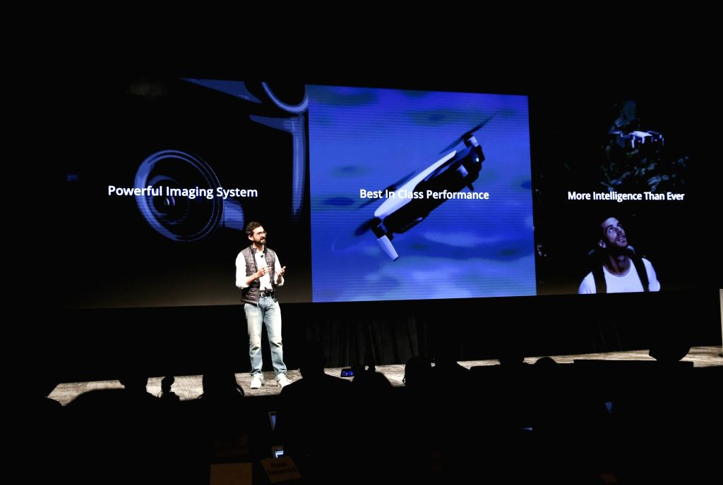 NEW YORK, Jan. 23, 2018 - Michael Perry, Director of Strategic Partnerships of DJI, introduces Mavic Air during a launching ceremony in New York, the United States, Jan. 23, 2018. Civilian drones ...