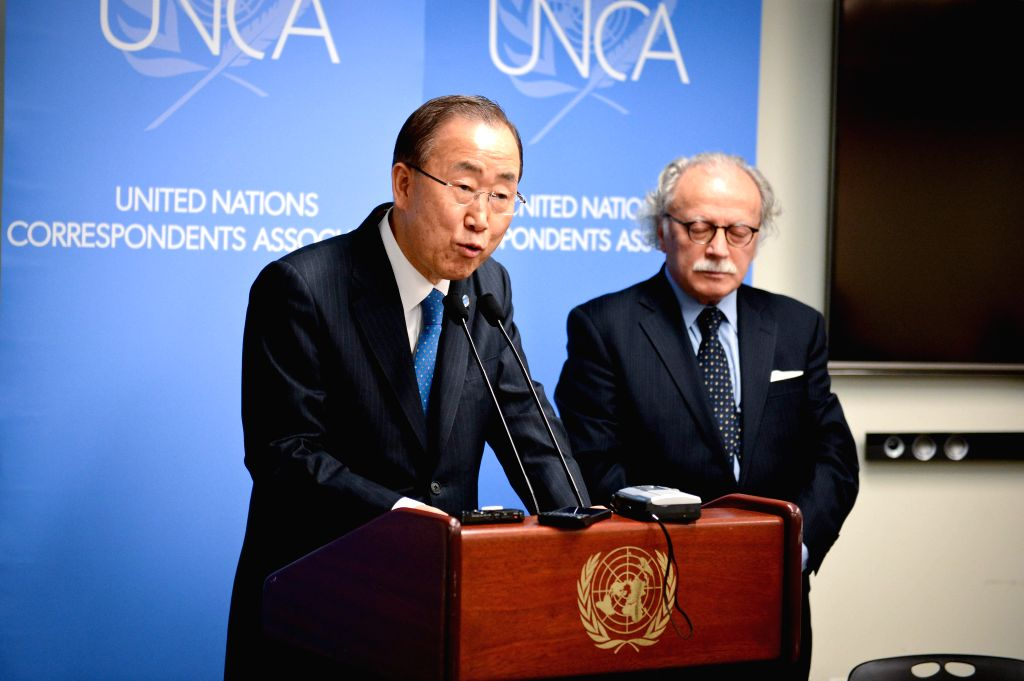 United Nations Secretary-General Ban Ki-moon speaks during his visit to the UN Correspondents Association at the UN headquarters in New York on Jan. 7, 2015. UN ...