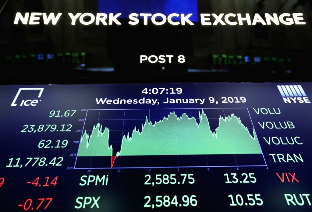 NEW YORK, Jan. 9, 2019 (Xinhua) -- An electronic screen shows the trading information at the New York Stock Exchange in New York, the United States, Jan. 9, 2019. U.S. stocks closed higher on Wednesday after the summary of Federal Reserve's meeting h