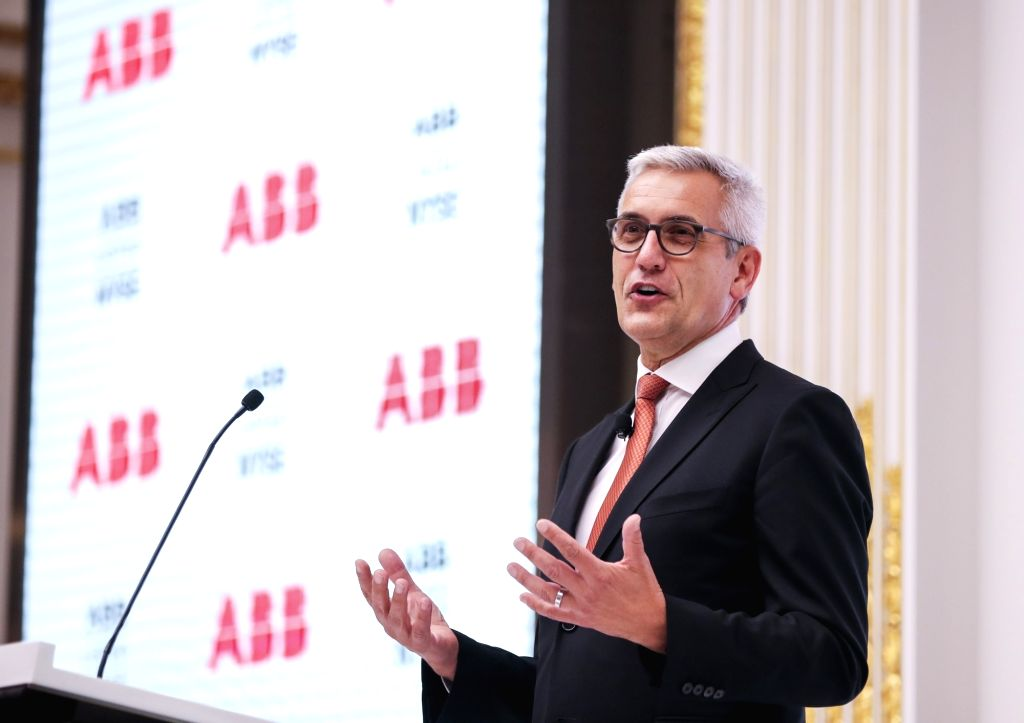 NEW YORK, July 14, 2018 - Ulrich Spiesshofer, chief executive officer of ABB Group, speaks before ringing the closing bell at the New York Stock Exchange in New York, the United States, July 13, ...