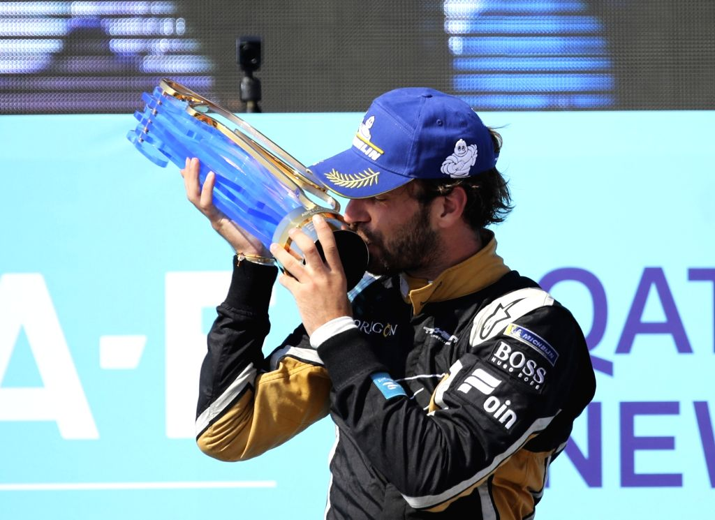 NEW YORK, July 16, 2018 - Jean-Eric Vergne of France from the Chinese-based team Techeetah celebrates victory after winning the final race of all-electric Formula E season in New York, the United ...