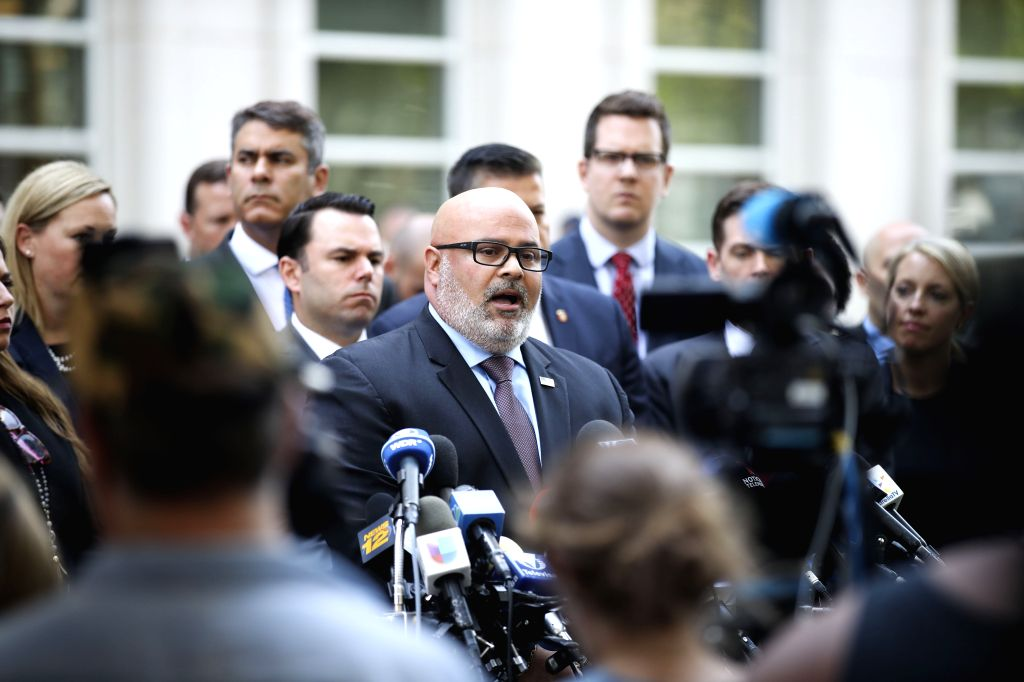 NEW YORK, July 17, 2019 (Xinhua) -- Angel Melendez, special agent in charge of U.S. Immigration and Customs Enforcement's Homeland Security Investigations (HSI), makes a statement outside a federal court in New York City's Brooklyn borough, the Unite