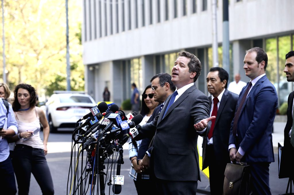 """NEW YORK, July 17, 2019 (Xinhua) -- Jeffrey Lichtman, attorney for Mexican drug kingpin Joaquin """"El Chapo"""" Guzman, speaks to media after Guzman's sentencing outside a federal court in New York City's Brooklyn borough, the United States, July 17, 2019"""