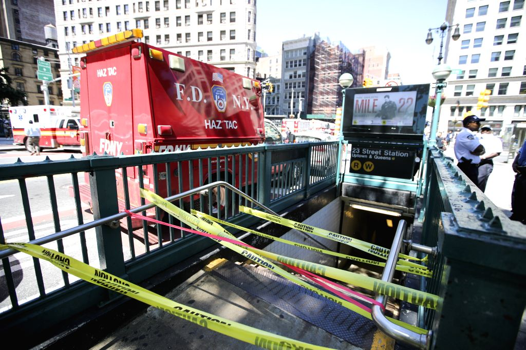 NEW YORK, July 19, 2018 - An entrance for subway is closed near the spot of a steam pipe explosion in New York, the United States, July 19, 2018. A neighborhood in Manhattan, New York City, was ...