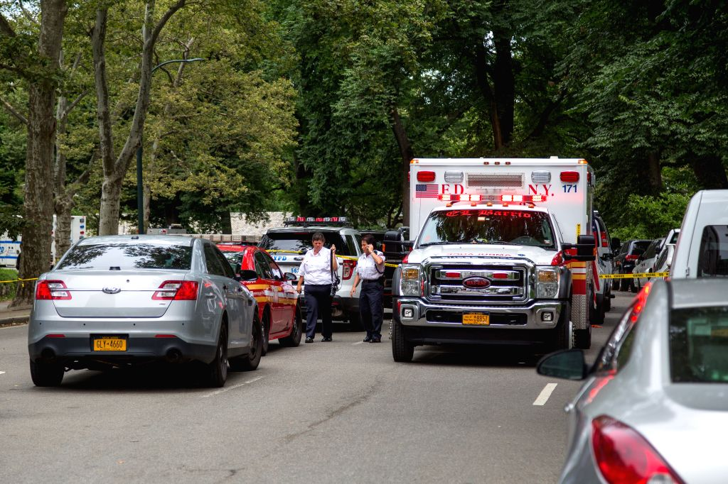 NEW YORK, July 4, 2016 - Rescue workers arrive at Central Park in New York, the United States, on July 3, 2016. An explosion happened early on Sunday at New York's Central Park, leaving one man ...