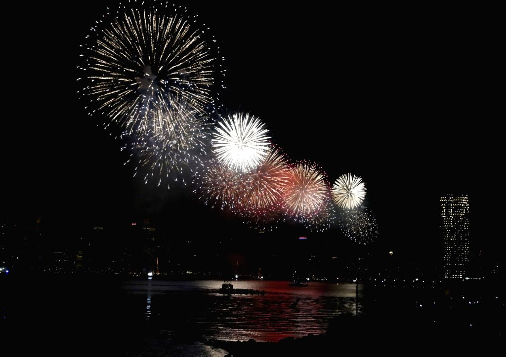 NEW YORK, July 5, 2017 - Fireworks explode over the East River to celebrate the Independence Day of the United States, in New York, on July 4, 2017. The United States celebrated its 241st ...