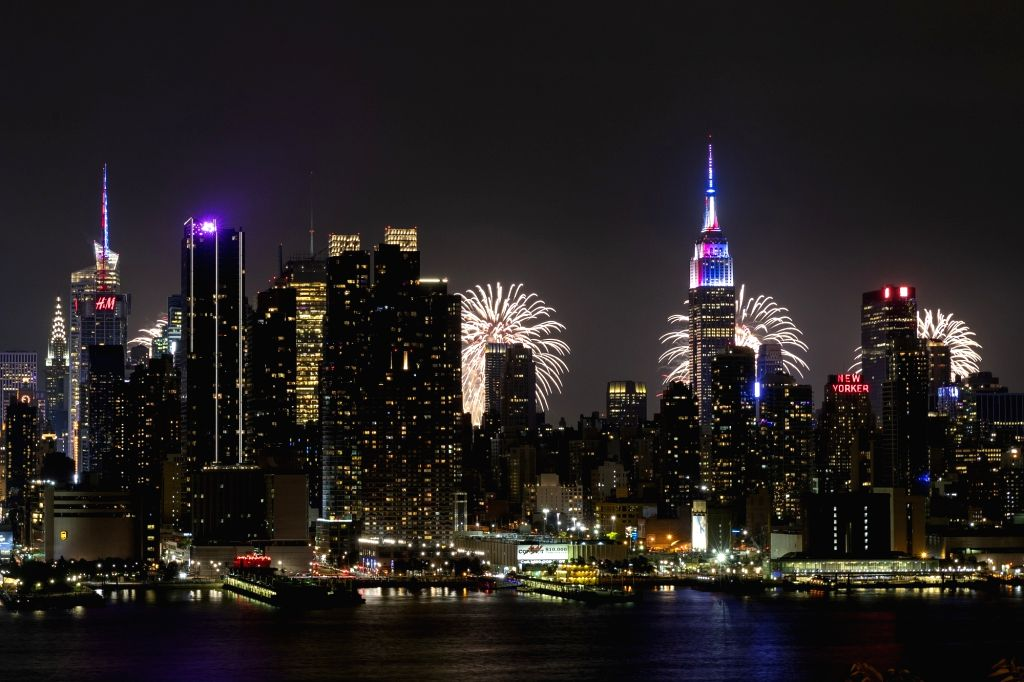 NEW YORK, July 5, 2018 - Fireworks and the Manhattan skyline are seen from Weehawken of New Jersey July 4, 2018, during Macy's 4th of July fireworks show as part of the U.S. Independence Day ...