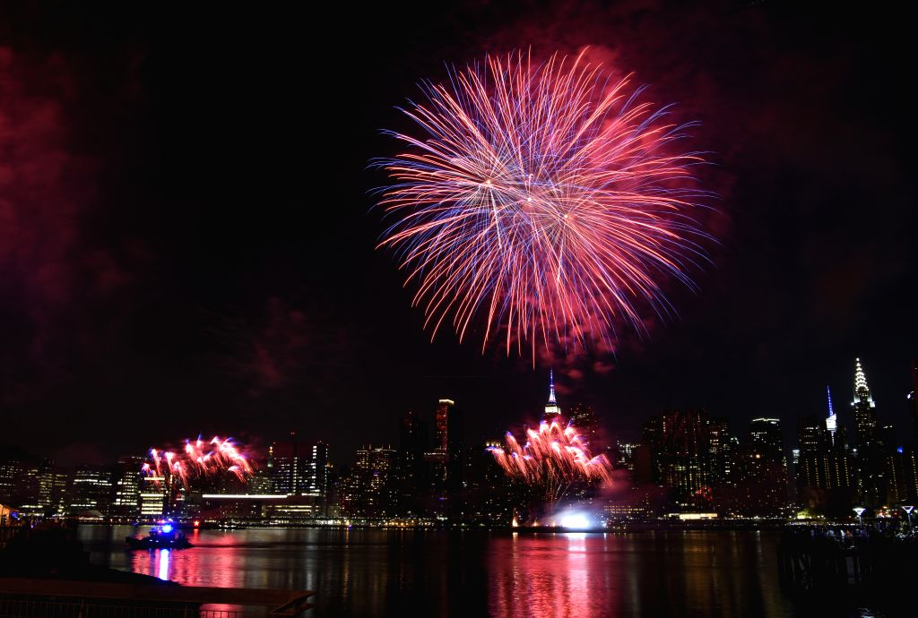 NEW YORK, July 5, 2018 - Fireworks explode to celebrate the Independence Day of the United States in New York July 4, 2018. /IANS)
