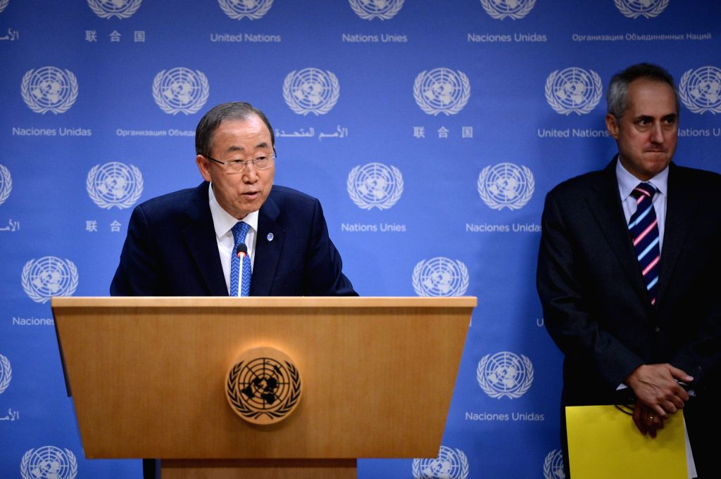 United Nations Secretary-General Ban Ki-moon (L) speaks during a press conference on the Deep Decarbonization Pathway Project (DDPP) interim report , at the UN ...