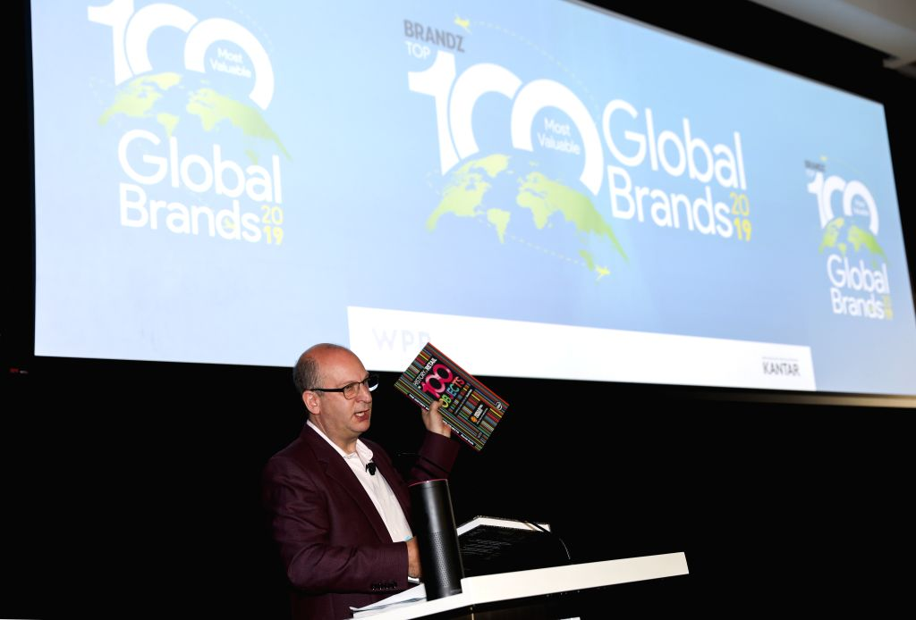 NEW YORK, June 12, 2019 - David Roth, CEO of The Store WPP EMEA and Asia and Chairman of BrandZ, speaks during the launching event of BrandZ Top 100 Most Valuable Global Brands 2019 held in New York, ...