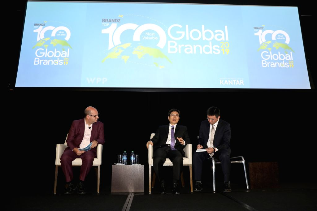 NEW YORK, June 12, 2019 - Zhou Yunjie (C), President of Haier Group, speaks during the launching event of BrandZ Top 100 Most Valuable Global Brands 2019 held in New York, the United States, June 11, ...