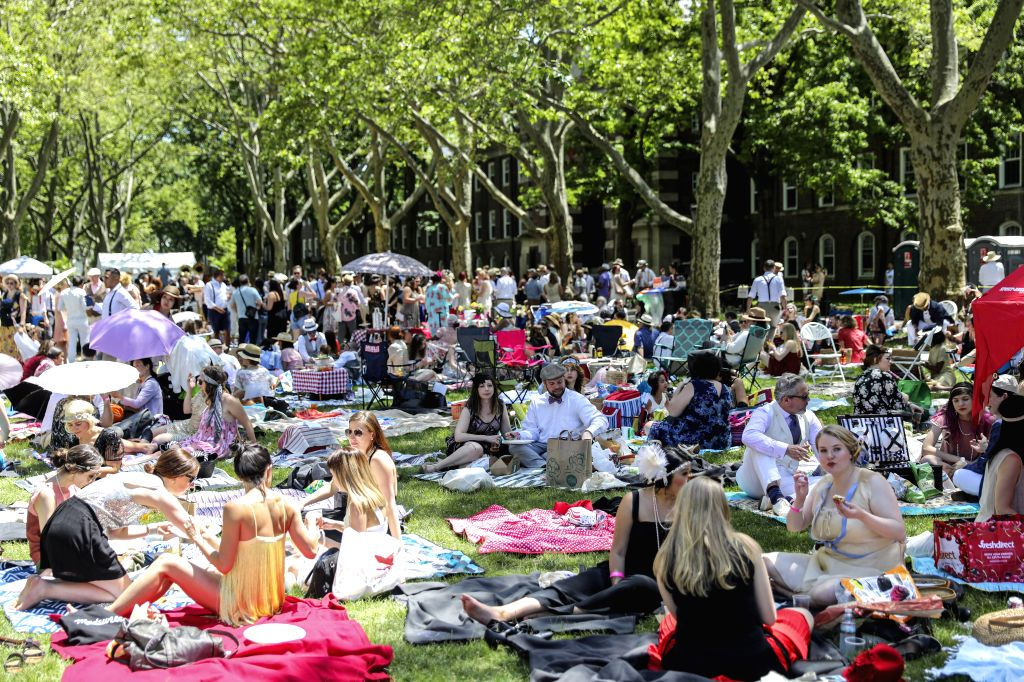 NEW YORK, June 15, 2019 - People attend the 14th annual Jazz Age Lawn Party on Governors Island of New York, the United States, on June 15, 2019. The event which kicked off on Saturday this year, ...