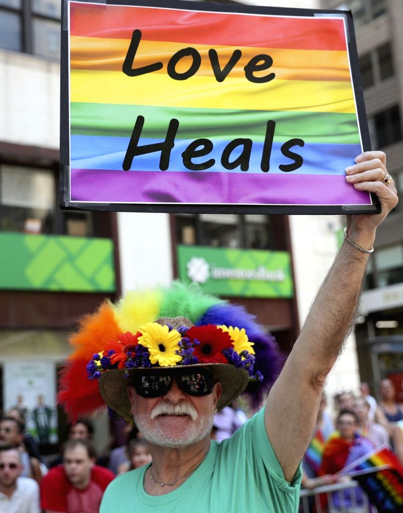 NEW YORK, June 25, 2017 - A participant takes part in the 2017 Pride Parade in New York, the United States, June 25, 2017. Tens of thousands of participants took part in the 2017 New York City Pride ...
