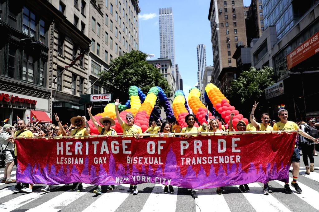 NEW YORK, June 25, 2017 - People take part in the 2017 Pride Parade in New York, the United States, June 25, 2017. Tens of thousands of participants took part in the 2017 New York City Pride Parade ...