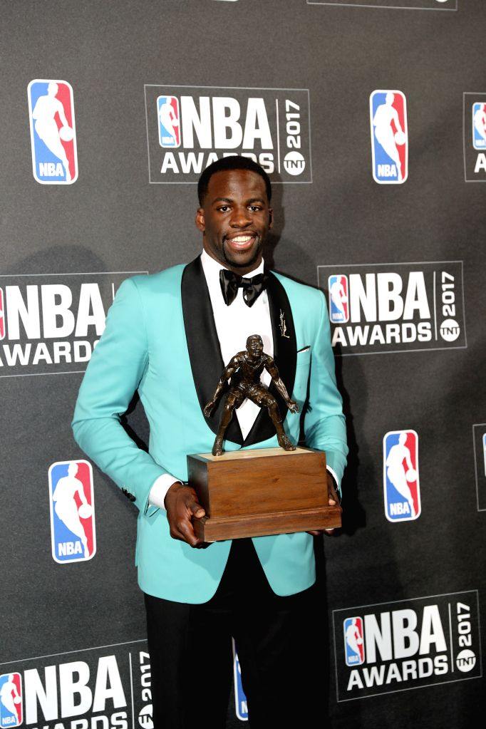 NEW YORK, June 27, 2017 - Draymond Green, winner of NBA Defensive Player of the Year, poses for photo in the press room at the 2017 NBA Awards in New York, the United States, June 26, 2017.