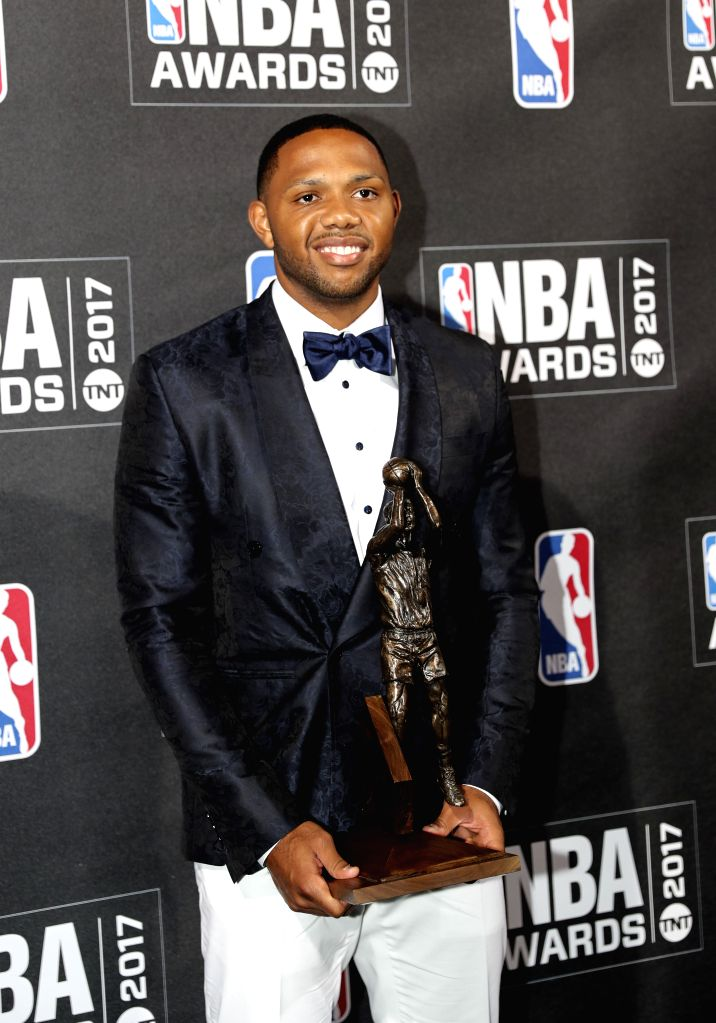 NEW YORK, June 27, 2017 - Eric Gordon, winner of 2016-2017 Sixth Man of the Year, poses for photo in the press room at the 2017 NBA Awards in New York, the United States, June 26, 2017.