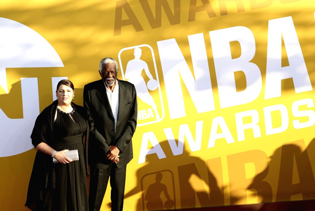 NEW YORK, June 27, 2017 - Former NBA player Bill Russell (R) poses for photo on the red carpet at the 2017 NBA Awards in New York, the United States, June 26, 2017.