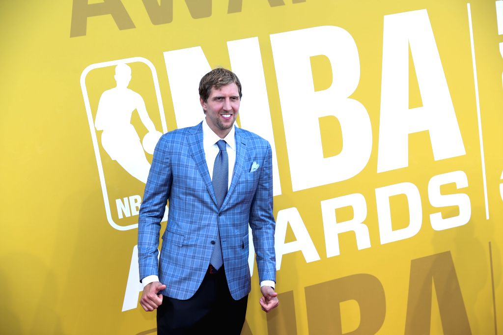 NEW YORK, June 27, 2017 - NBA player Dirk Nowitzki poses for photo on the red carpet at the 2017 NBA Awards in New York, the United States, June 26, 2017.