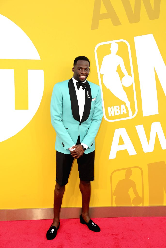 NEW YORK, June 27, 2017 - NBA player Draymond Green poses for photo on the red carpet at the 2017 NBA Awards in New York, the United States, June 26, 2017.