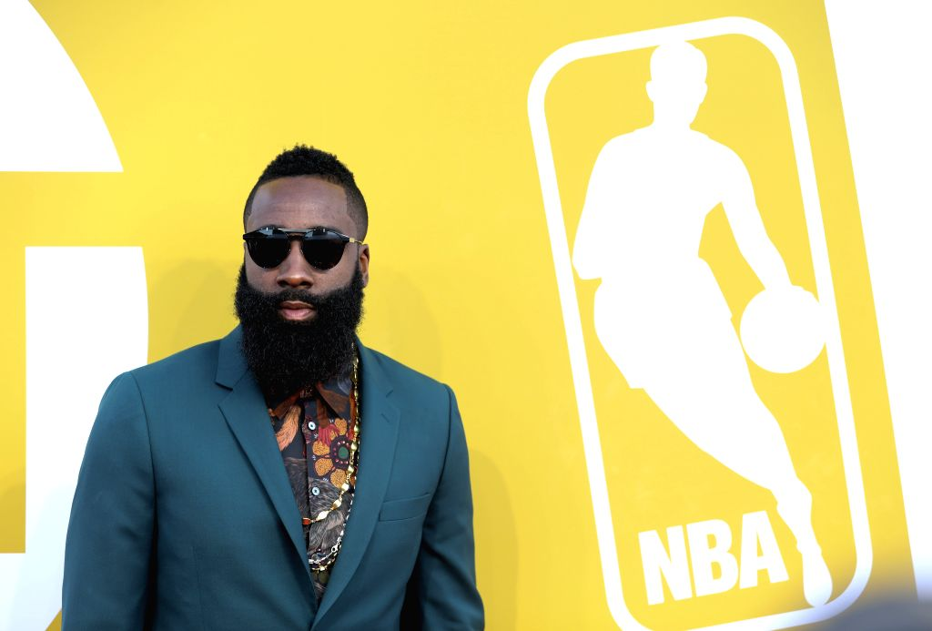 NEW YORK, June 27, 2017 - NBA player James Harden poses for photo on the red carpet at the 2017 NBA Awards in New York, the United States, June 26, 2017.