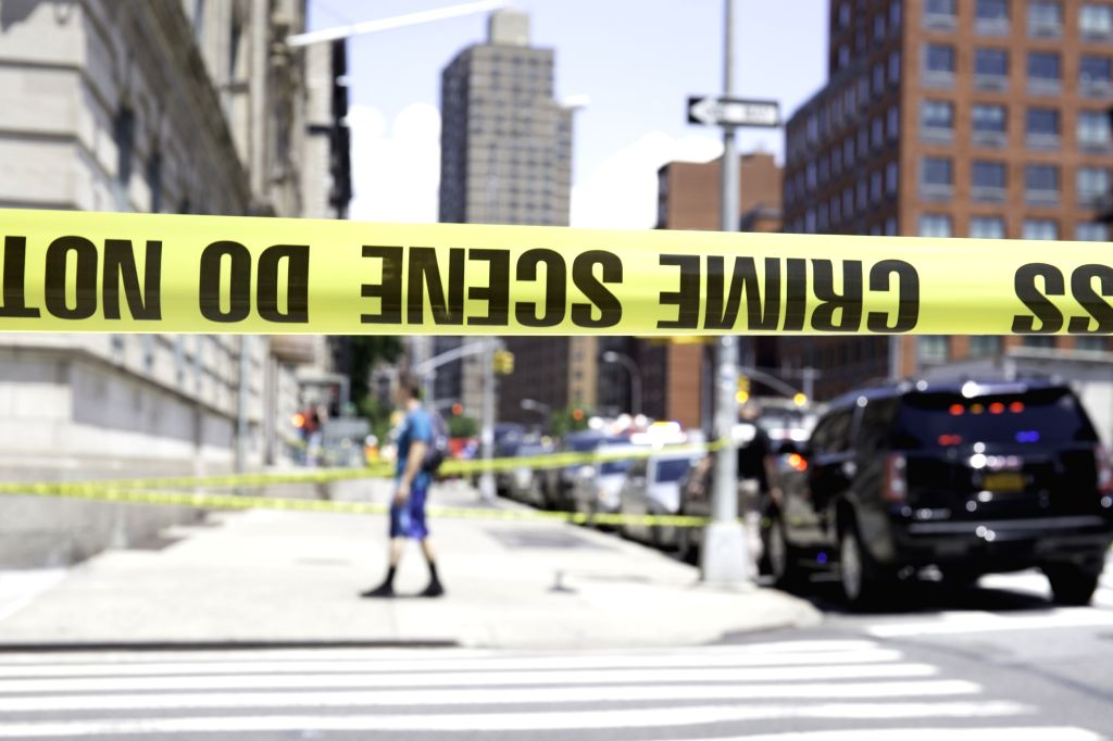 NEW YORK, June 27, 2017 - Police cordon off the street near the site of a subway derailment in Harlem, New York, the United States, on June 27, 2017. At least 34 people were injured from a subway ...