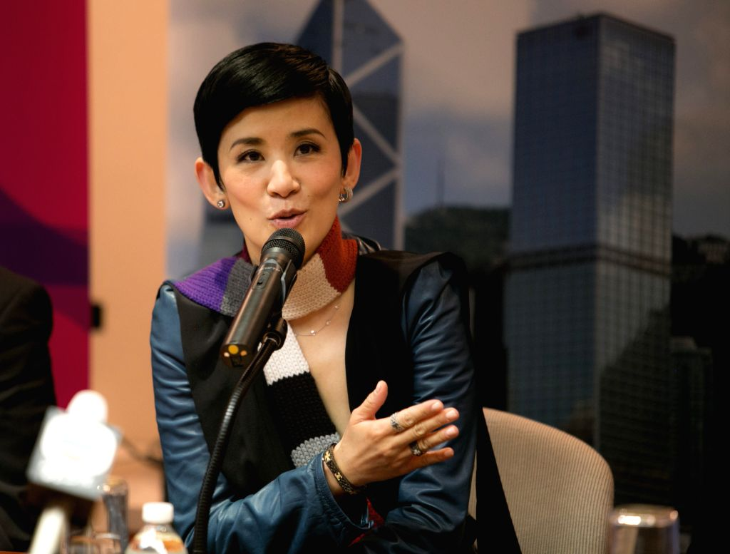 Actress Sandra Ng addresses a press conference for the 2014 New York Asian Film Festival at the Hong Kong Economic and Trade Office in New York, the United States, - Sandra N