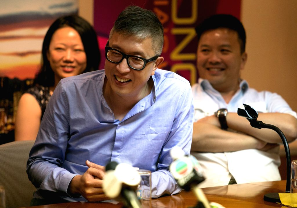 Director Felix Chong reacts during a press conference for the 2014 New York Asian Film Festival at the Hong Kong Economic and Trade Office in New York, the United .