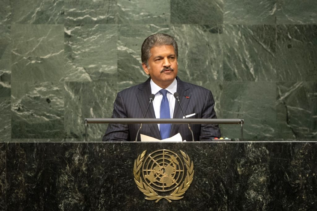 New York: Mahindra group chairman Anand Mahindra addresses the opening ceremony of Paris climate deal at the United Nations headquarters in New York on April 22, 2016.