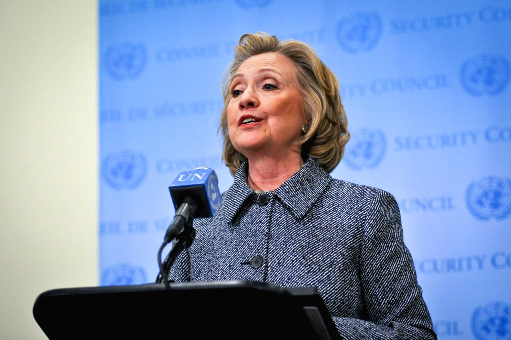 Former U.S. Secretary of State Hillary Clinton addresses the press after attending the annual Women's Empowerment Principles event at the UN headquarters in New ...