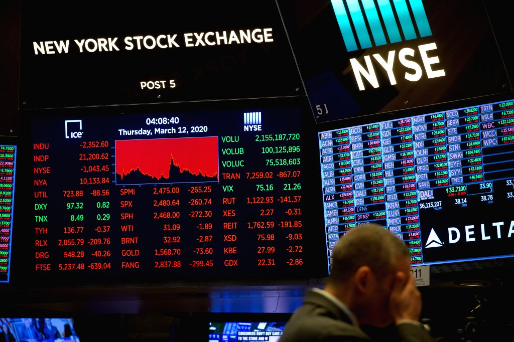 NEW YORK, March 13, 2020 (Xinhua) -- A monitor shows the trading infomation at the New York Stock Exchange (NYSE) in New York, the United States, March 12, 2020. Intensifying coronavirus fears battered Wall Street on Thursday with a historic nosedive