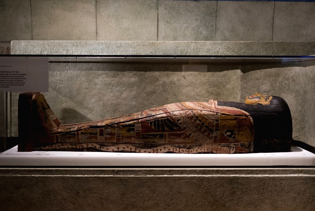 """NEW YORK, March 17, 2017 - A coffin is displayed at the preview of the """"Mummies"""" exhibition at the American Museum of Natural History in New York, the United States, March 16, 2017. The ..."""
