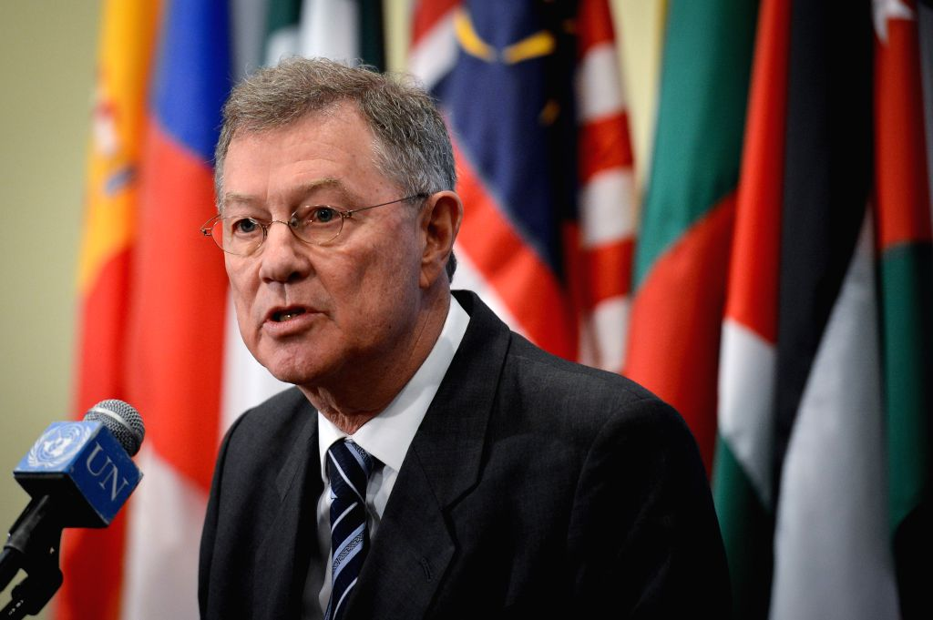 The UN Special Coordinator for the Middle East Process Robert Serry addresses the media after his departing briefing to the Security Council at the UN ...