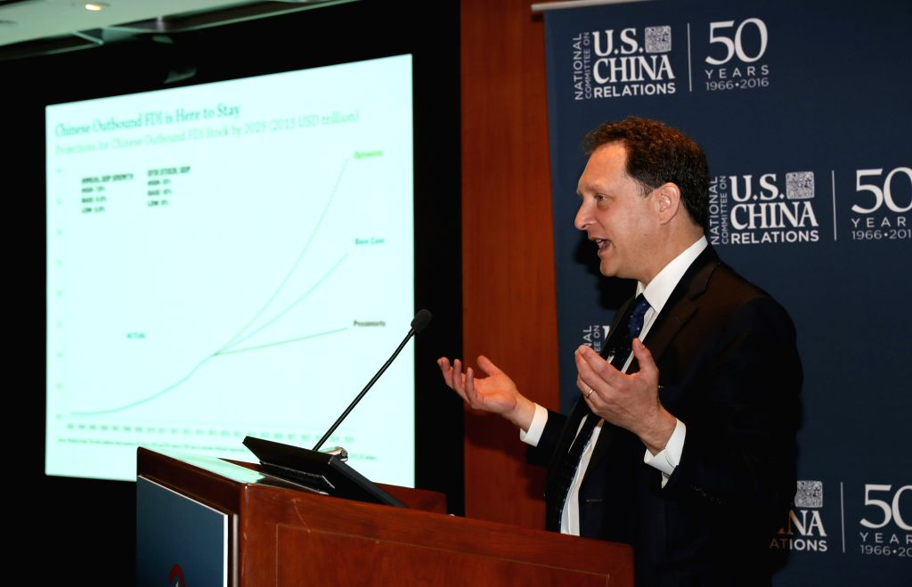 NEW YORK, May 18, 2017 - Daniel Rosen, a founding partner of Rhodium Group, speaks during an event for the joint release of a report on U.S.-China direct investment, in New York, the United States, ...