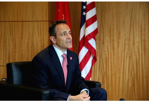NEW YORK, May 23, 2018 - U.S. Kentucky Governor Matt Bevin receives an interview with Xinhua in New York, the United States, May 22, 2018. Matt Bevin expects his upcoming first visit to China will ...