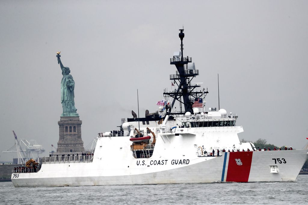 NEW YORK, May 24, 2017 - USCGC Hamilton (WMSL 753), the United States Coast Guard's National Security Cutter (NSC), is seen during the fleet parade on waters in New York, the United States, on May ...
