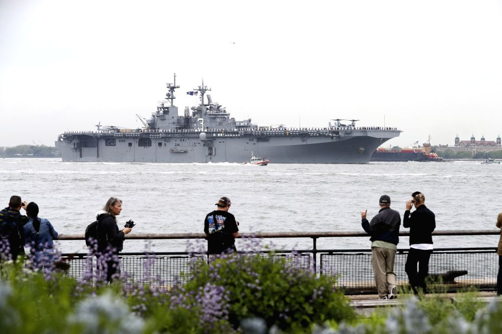 NEW YORK, May 24, 2017 - USS Kearsarge, a Wasp-class multipurpose amphibious assault ship, is seen during the fleet parade on waters in New York, the United States, on May 24, 2017. The 29th New York ...