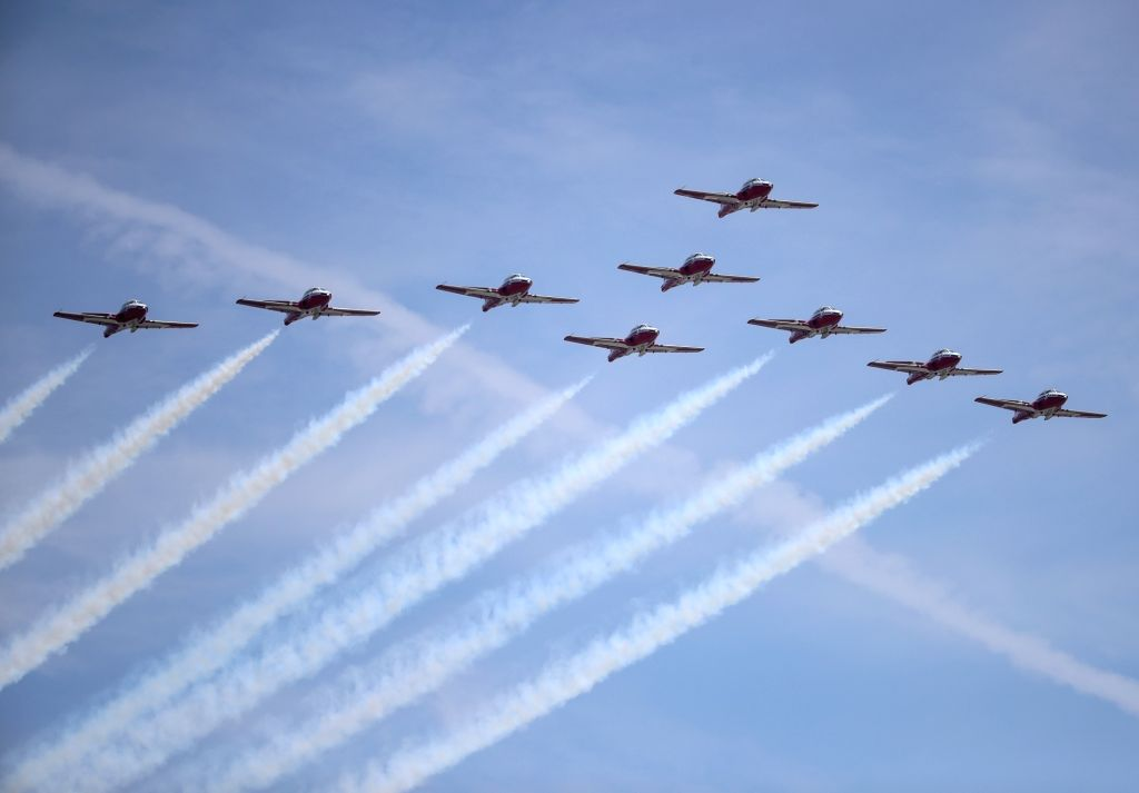 NEW YORK, May 26, 2018 - Aircraft of Canadian Forces Snowbirds perform during the 15th annual Bethpage Air Show over Jones Beach in New York, the United States, May 26, 2018.